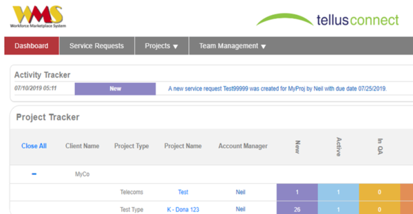 Screenshot of Workforce Management System